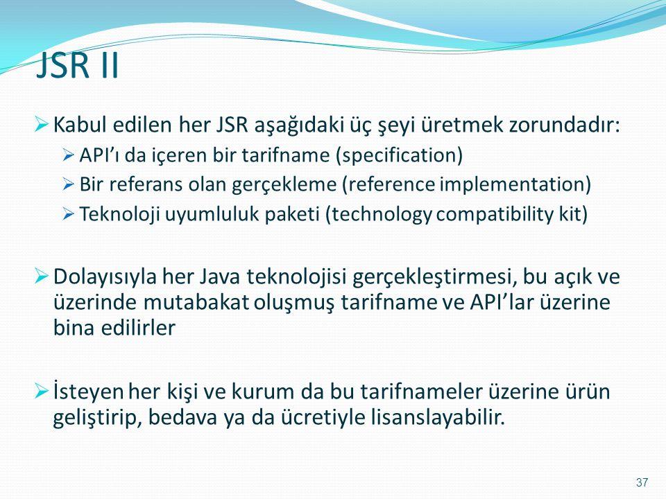 JSR II  Kabul edilen her JSR aşağıdaki üç şeyi üretmek zorundadır:  API'ı da içeren bir tarifname (specification)  Bir referans olan gerçekleme (re