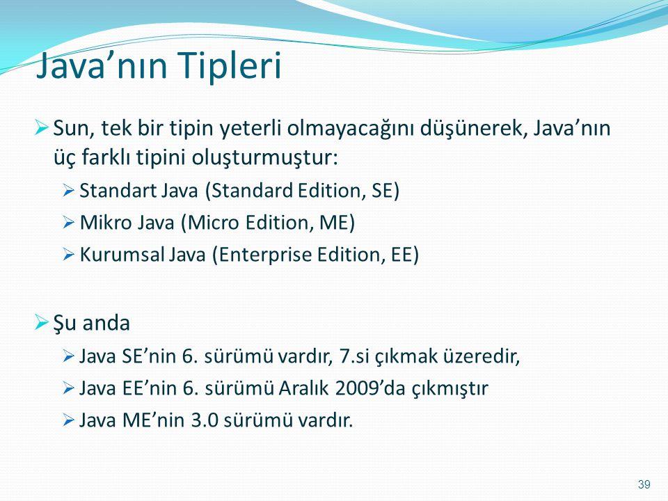 Java'nın Tipleri  Sun, tek bir tipin yeterli olmayacağını düşünerek, Java'nın üç farklı tipini oluşturmuştur:  Standart Java (Standard Edition, SE)