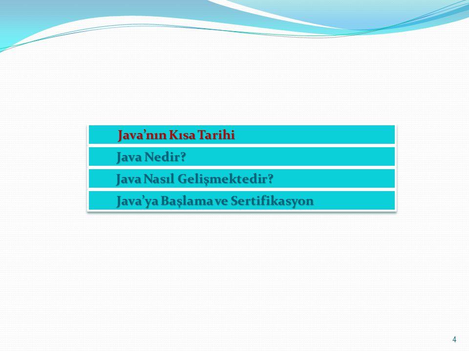 4 Java'nın Kısa Tarihi Java'nın Kısa Tarihi Java Nedir? Java Nasıl Gelişmektedir? Java Nasıl Gelişmektedir? Java'ya Başlama ve Sertifikasyon