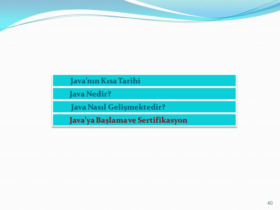 40 Java'nın Kısa Tarihi Java'nın Kısa Tarihi Java Nedir? Java Nasıl Gelişmektedir? Java Nasıl Gelişmektedir? Java'ya Başlama ve Sertifikasyon