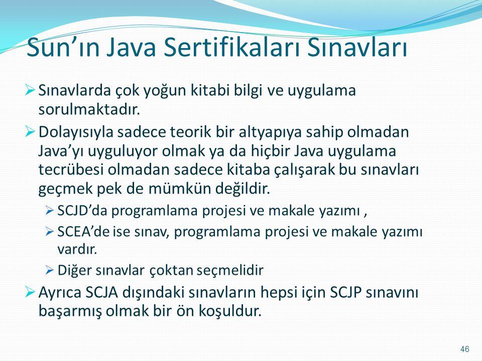 Sun'ın Java Sertifikaları Sınavları  Sınavlarda çok yoğun kitabi bilgi ve uygulama sorulmaktadır.  Dolayısıyla sadece teorik bir altyapıya sahip olm