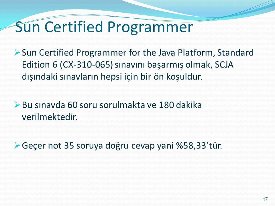 Sun Certified Programmer  Sun Certified Programmer for the Java Platform, Standard Edition 6 (CX-310-065) sınavını başarmış olmak, SCJA dışındaki sın