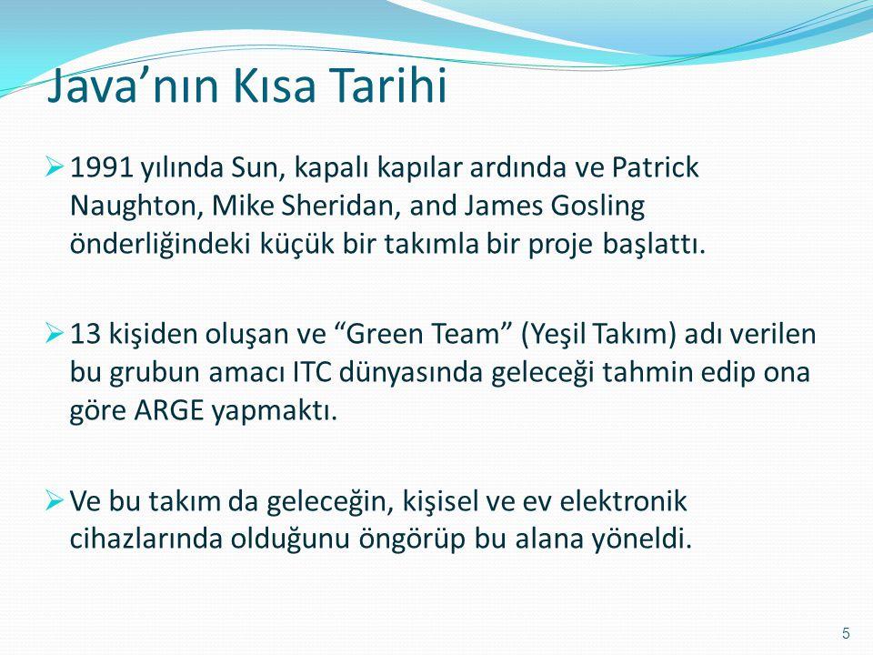 Java'nın Kısa Tarihi  1991 yılında Sun, kapalı kapılar ardında ve Patrick Naughton, Mike Sheridan, and James Gosling önderliğindeki küçük bir takımla