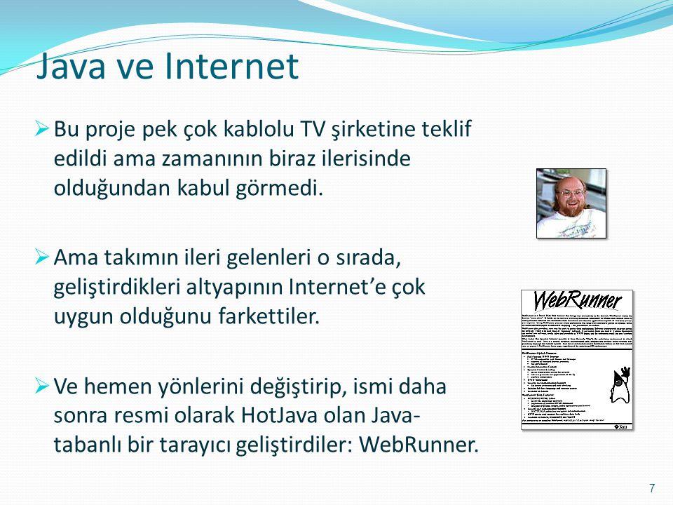 Java ve Internet  Bu proje pek çok kablolu TV şirketine teklif edildi ama zamanının biraz ilerisinde olduğundan kabul görmedi.  Ama takımın ileri ge