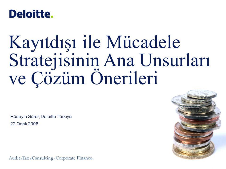 Kayıtdışı Ekonomi Semineri / Hüseyin Gürer ©2007 Deloitte Türkiye Kayıtdışı ile Mücadele Stratejisinin Ana Unsurları ve Bu Meseleye İlişkin Çözüm Önerileri I.