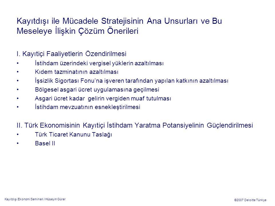 Kayıtdışı Ekonomi Semineri / Hüseyin Gürer ©2007 Deloitte Türkiye Kayıtdışı ile Mücadele Stratejisinin Ana Unsurları ve Bu Meseleye İlişkin Çözüm Önerileri III.