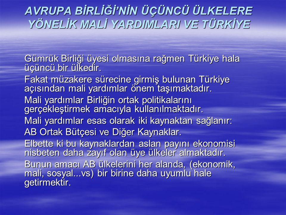 AVRUPA BİRLİĞİ'NİN ÜÇÜNCÜ ÜLKELERE YÖNELİK MALİ YARDIMLARI VE TÜRKİYE Gümrük Birliği üyesi olmasına rağmen Türkiye hala üçüncü bir ülkedir. Fakat müza