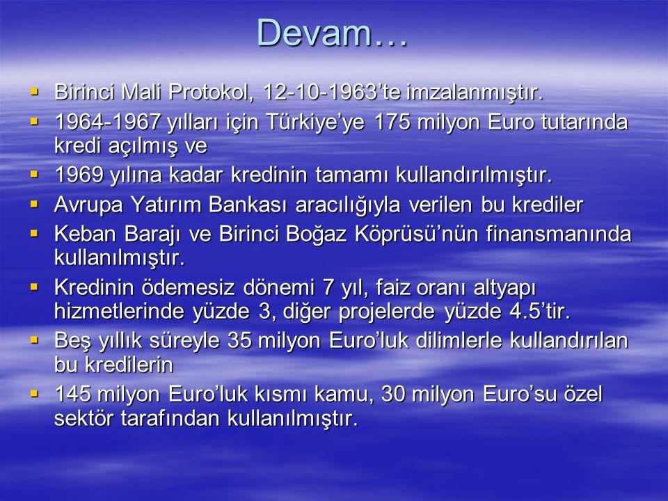 Devam…  Birinci Mali Protokol, 12-10-1963'te imzalanmıştır.  1964-1967 yılları için Türkiye'ye 175 milyon Euro tutarında kredi açılmış ve  1969 yıl