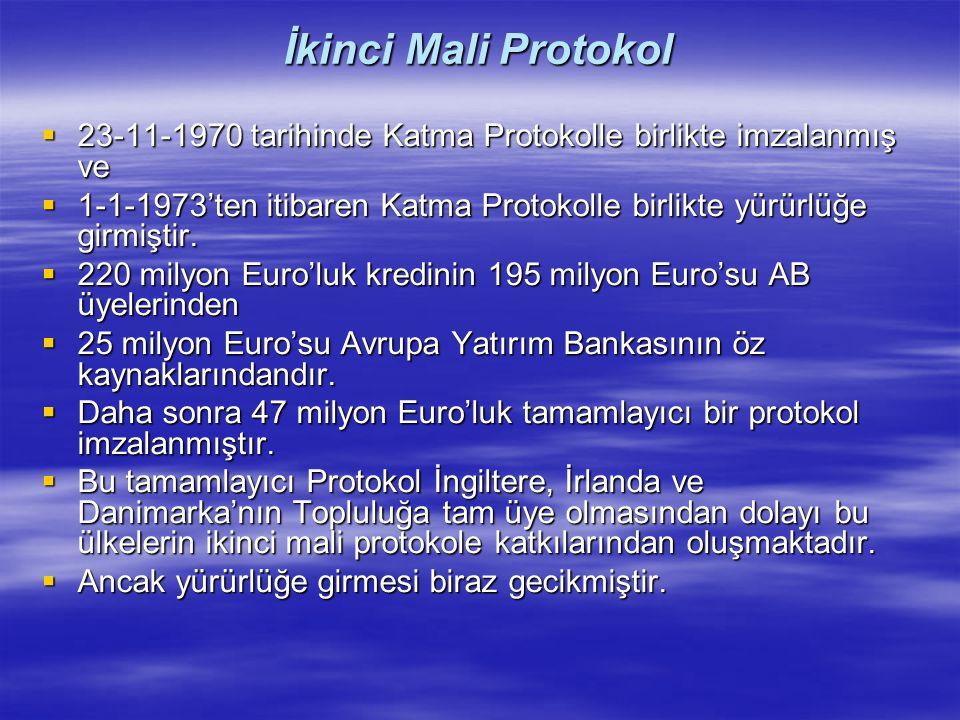 İkinci Mali Protokol  23-11-1970 tarihinde Katma Protokolle birlikte imzalanmış ve  1-1-1973'ten itibaren Katma Protokolle birlikte yürürlüğe girmiş