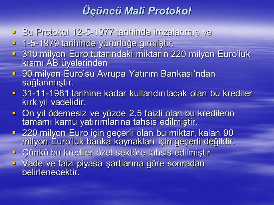 Üçüncü Mali Protokol  Bu Protokol 12-5-1977 tarihinde imzalanmış ve  1-5-1979 tarihinde yürürlüğe girmiştir.  310 milyon Euro tutarındaki miktarın