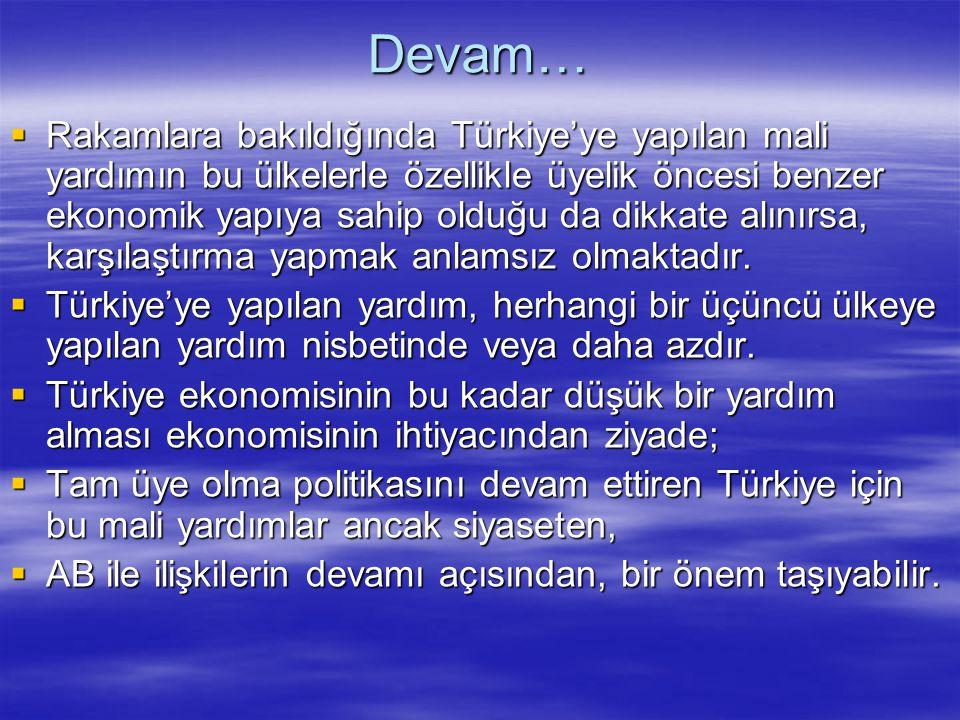 Devam…  Rakamlara bakıldığında Türkiye'ye yapılan mali yardımın bu ülkelerle özellikle üyelik öncesi benzer ekonomik yapıya sahip olduğu da dikkate a