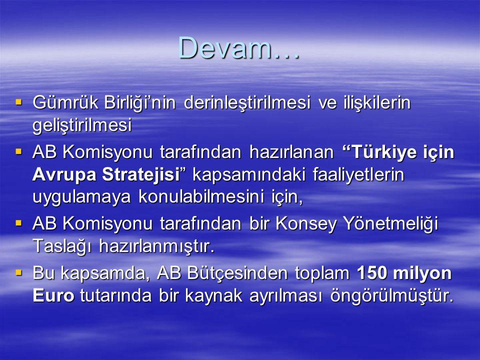 """Devam…  Gümrük Birliği'nin derinleştirilmesi ve ilişkilerin geliştirilmesi  AB Komisyonu tarafından hazırlanan """"Türkiye için Avrupa Stratejisi"""" kaps"""