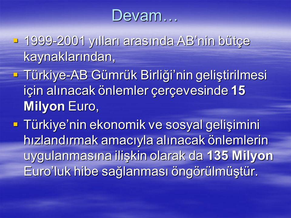 Devam…  1999-2001 yılları arasında AB'nin bütçe kaynaklarından,  Türkiye-AB Gümrük Birliği'nin geliştirilmesi için alınacak önlemler çerçevesinde 15