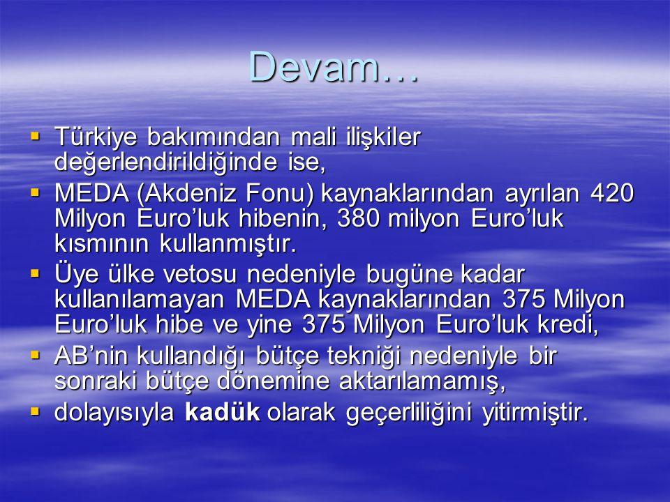 Devam…  Türkiye bakımından mali ilişkiler değerlendirildiğinde ise,  MEDA (Akdeniz Fonu) kaynaklarından ayrılan 420 Milyon Euro'luk hibenin, 380 mil