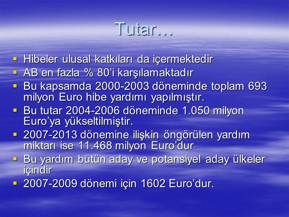 Tutar…  Hibeler ulusal katkıları da içermektedir  AB en fazla % 80'i karşılamaktadır  Bu kapsamda 2000-2003 döneminde toplam 693 milyon Euro hibe y
