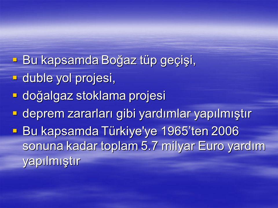  Bu kapsamda Boğaz tüp geçişi,  duble yol projesi,  doğalgaz stoklama projesi  deprem zararları gibi yardımlar yapılmıştır  Bu kapsamda Türkiye'y