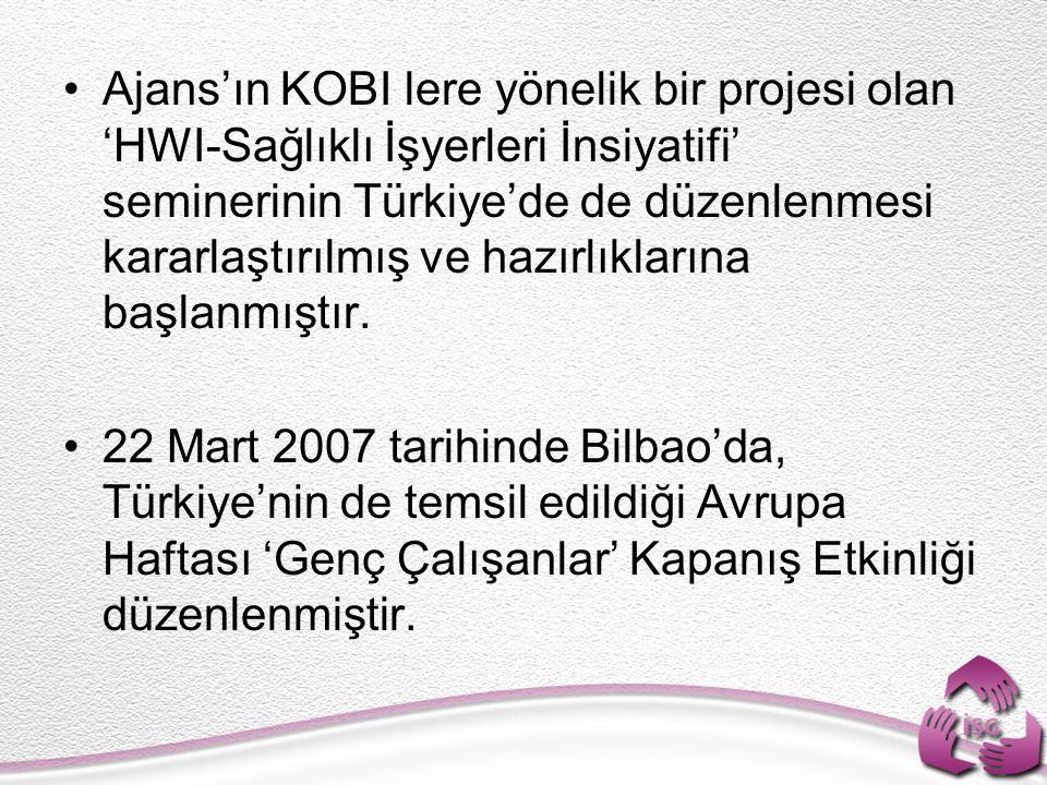 Ajans'ın KOBI lere yönelik bir projesi olan 'HWI-Sağlıklı İşyerleri İnsiyatifi' seminerinin Türkiye'de de düzenlenmesi kararlaştırılmış ve hazırlıklar