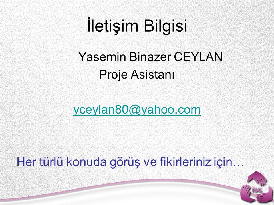 İletişim Bilgisi Yasemin Binazer CEYLAN Proje Asistanı yceylan80@yahoo.com Her türlü konuda görüş ve fikirleriniz için…
