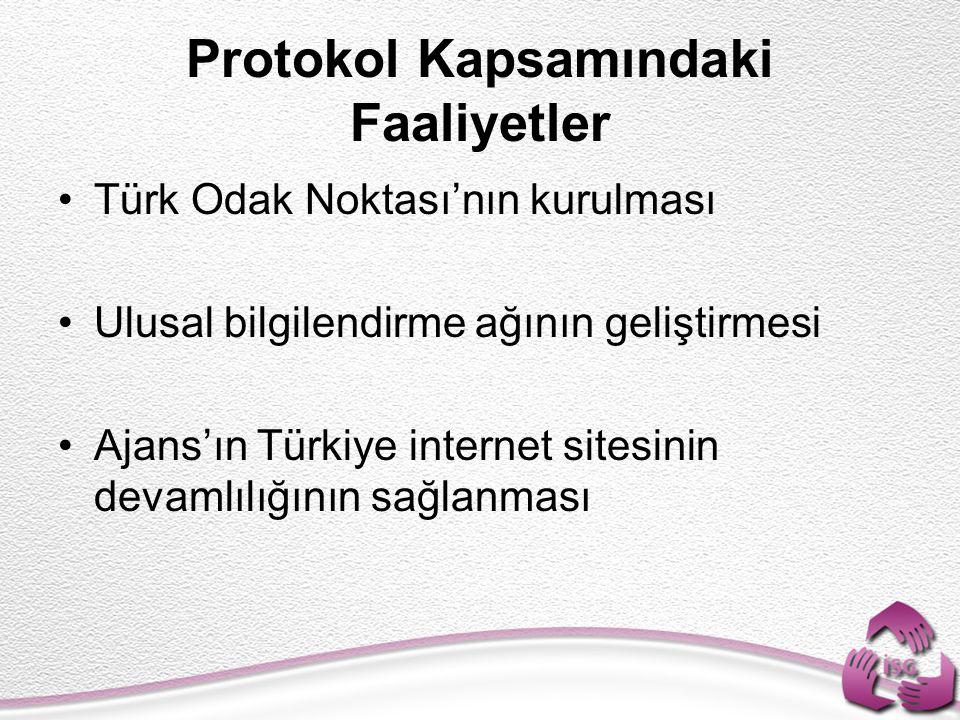 Protokol Kapsamındaki Faaliyetler Türk Odak Noktası'nın kurulması Ulusal bilgilendirme ağının geliştirmesi Ajans'ın Türkiye internet sitesinin devamlı