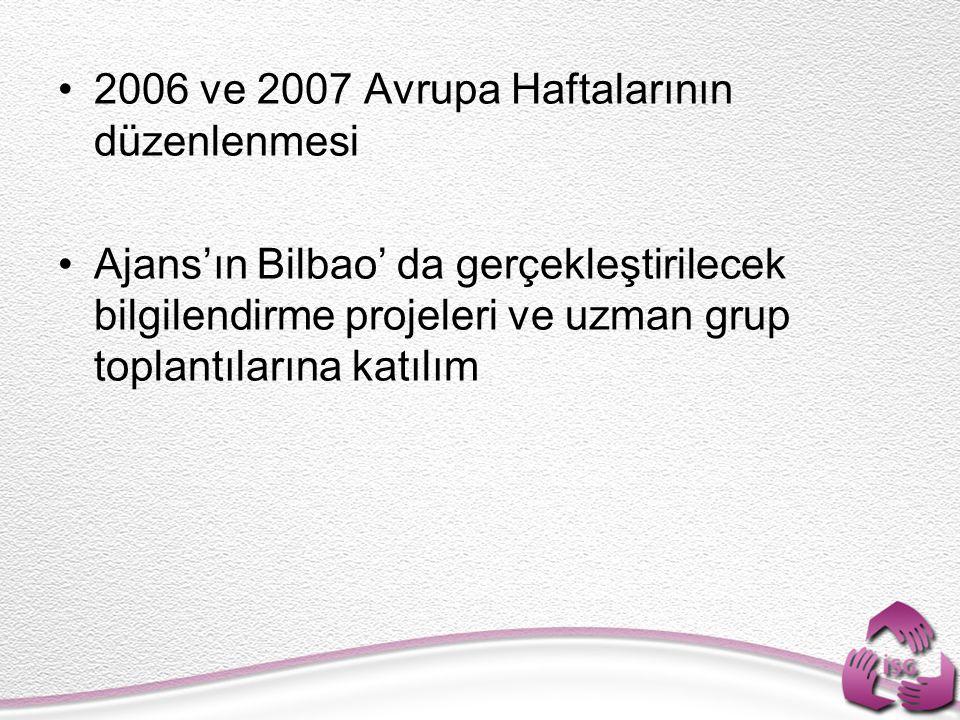 2006 ve 2007 Avrupa Haftalarının düzenlenmesi Ajans'ın Bilbao' da gerçekleştirilecek bilgilendirme projeleri ve uzman grup toplantılarına katılım