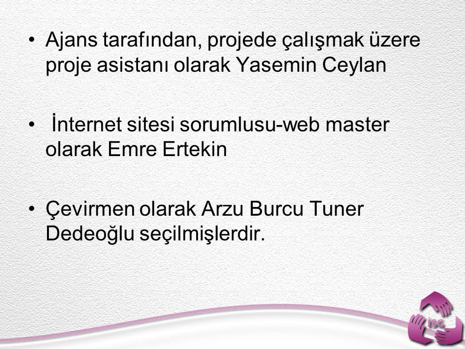Ajans tarafından, projede çalışmak üzere proje asistanı olarak Yasemin Ceylan İnternet sitesi sorumlusu-web master olarak Emre Ertekin Çevirmen olarak
