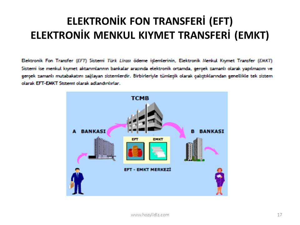 ELEKTRONİK FON TRANSFERİ (EFT) ELEKTRONİK MENKUL KIYMET TRANSFERİ (EMKT) www.hozyildiz.com17