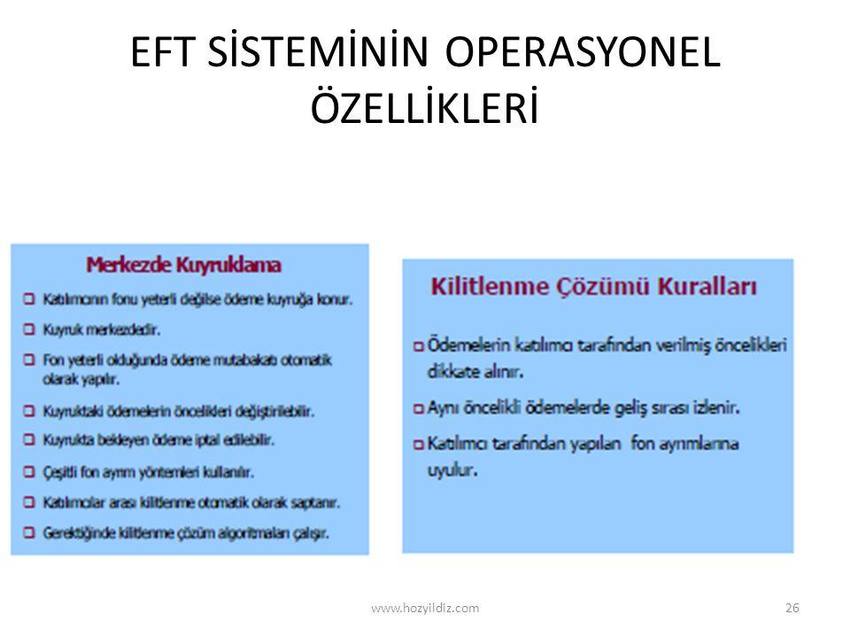 EFT SİSTEMİNİN OPERASYONEL ÖZELLİKLERİ www.hozyildiz.com26