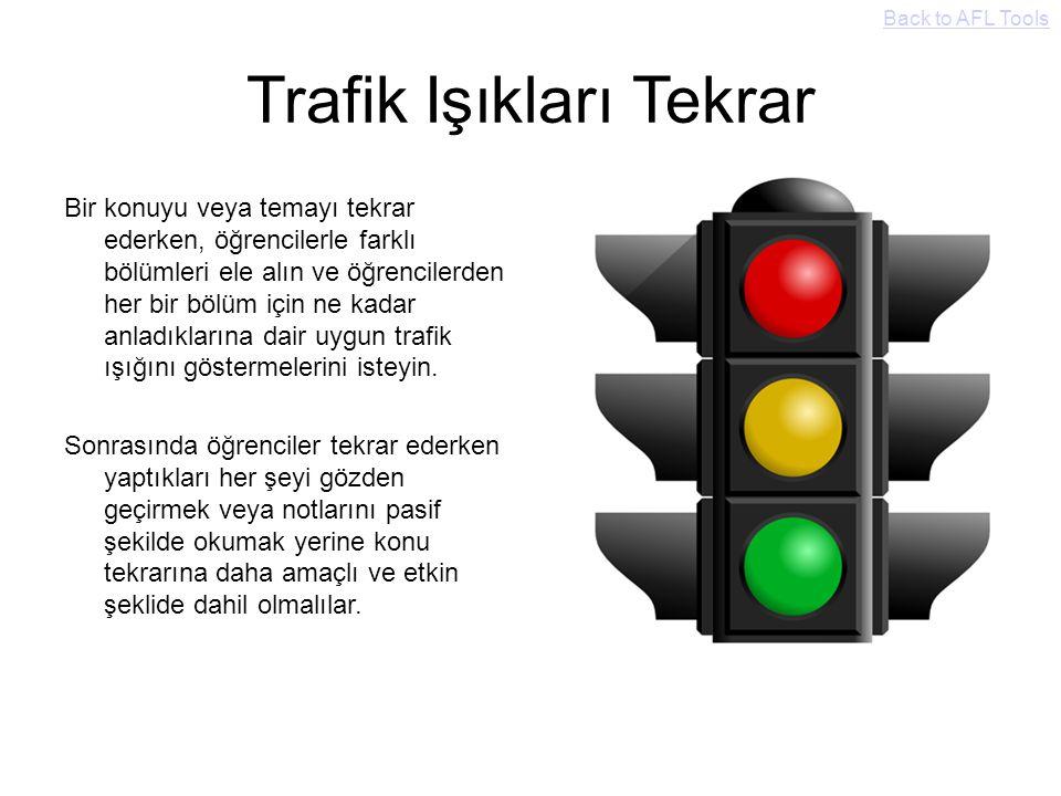 Trafik Işıkları Tekrar Bir konuyu veya temayı tekrar ederken, öğrencilerle farklı bölümleri ele alın ve öğrencilerden her bir bölüm için ne kadar anla