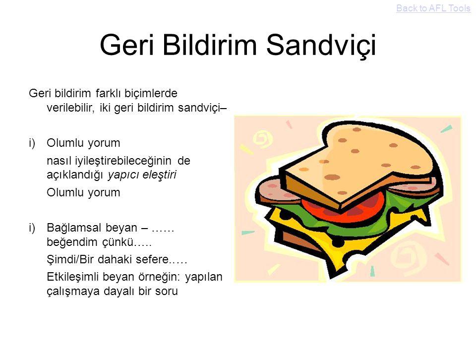 Geri Bildirim Sandviçi Geri bildirim farklı biçimlerde verilebilir, iki geri bildirim sandviçi– i)Olumlu yorum nasıl iyileştirebileceğinin de açıkland