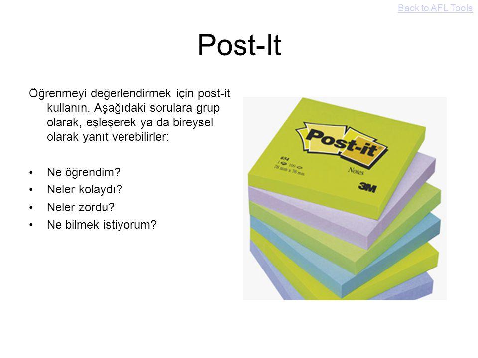 Post-It Öğrenmeyi değerlendirmek için post-it kullanın. Aşağıdaki sorulara grup olarak, eşleşerek ya da bireysel olarak yanıt verebilirler: Ne öğrendi