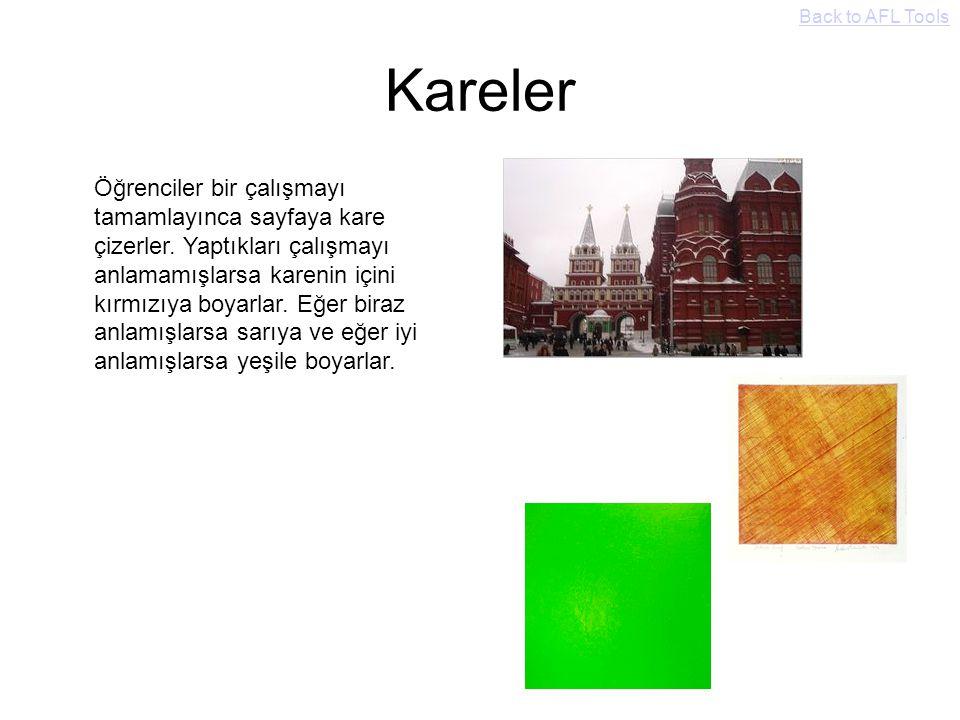 Kareler Öğrenciler bir çalışmayı tamamlayınca sayfaya kare çizerler. Yaptıkları çalışmayı anlamamışlarsa karenin içini kırmızıya boyarlar. Eğer biraz