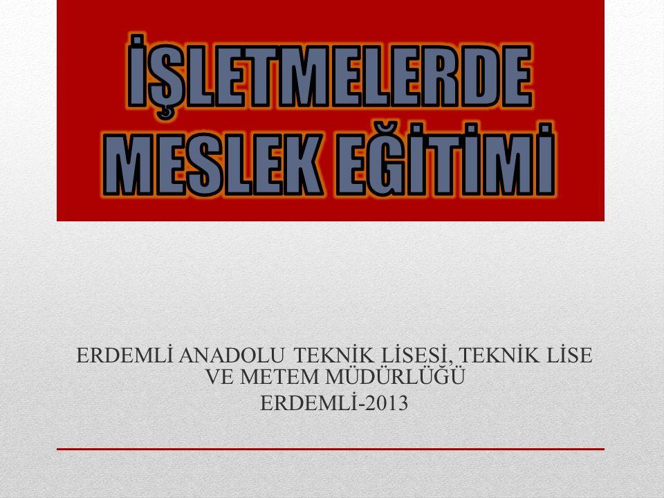 ERDEMLİ ANADOLU TEKNİK LİSESİ, TEKNİK LİSE VE METEM MÜDÜRLÜĞÜ ERDEMLİ-2013