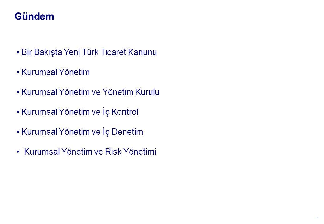 2 Gündem Bir Bakışta Yeni Türk Ticaret Kanunu Kurumsal Yönetim Kurumsal Yönetim ve Yönetim Kurulu Kurumsal Yönetim ve İç Kontrol Kurumsal Yönetim ve İç Denetim Kurumsal Yönetim ve Risk Yönetimi
