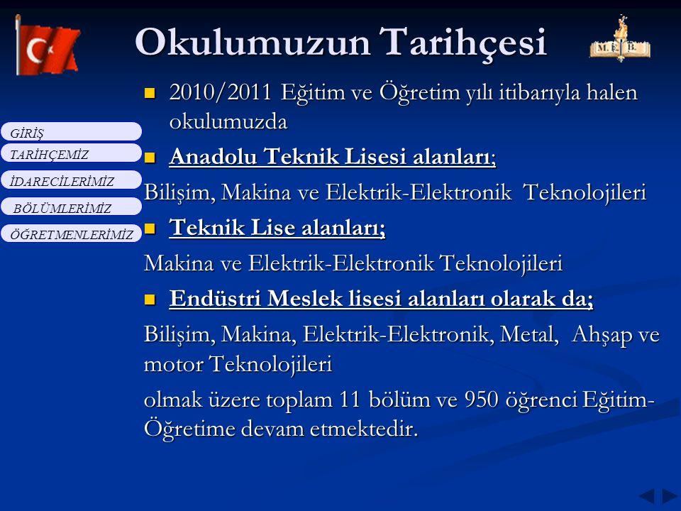 2010/2011 Eğitim ve Öğretim yılı itibarıyla halen okulumuzda Anadolu Teknik Lisesi alanları; Bilişim, Makina ve Elektrik-Elektronik Teknolojileri Tekn