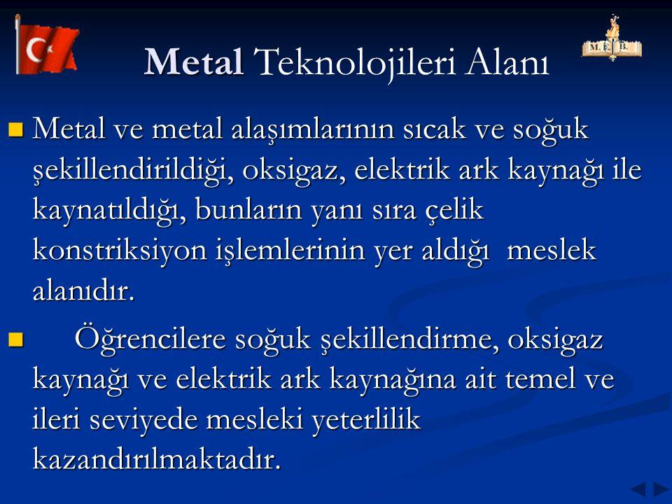 Metal Metal Teknolojileri Alanı Metal ve metal alaşımlarının sıcak ve soğuk şekillendirildiği, oksigaz, elektrik ark kaynağı ile kaynatıldığı, bunları