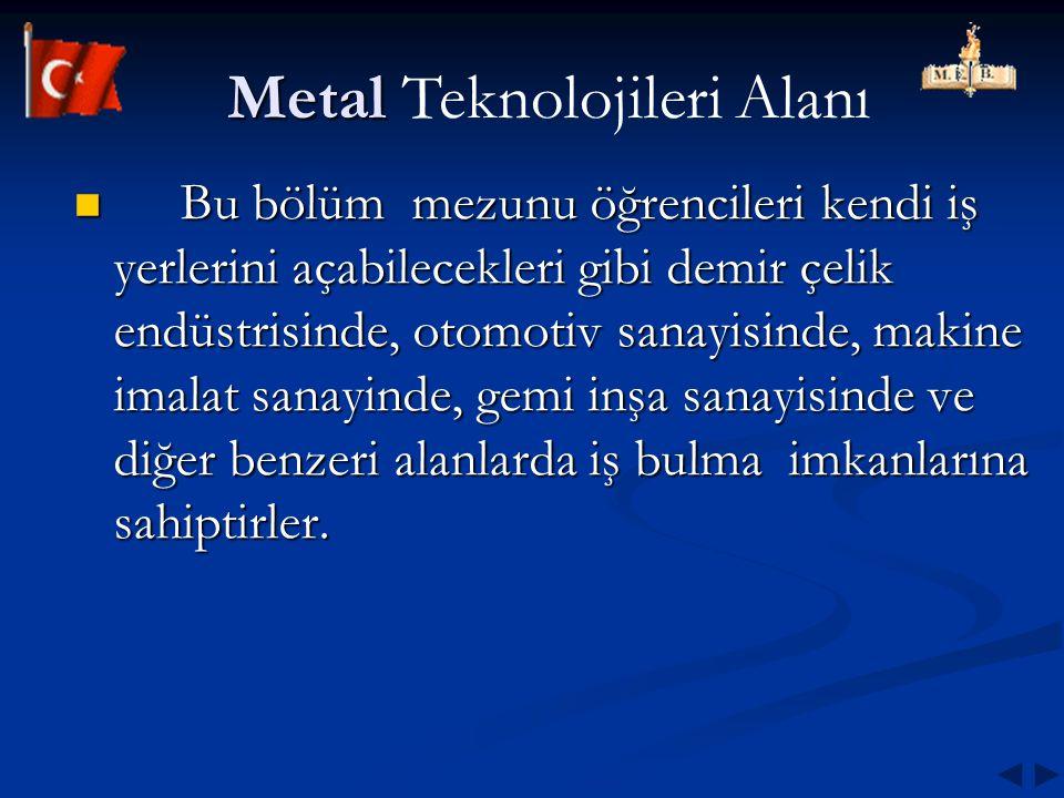 Metal Metal Teknolojileri Alanı Bu bölüm mezunu öğrencileri kendi iş yerlerini açabilecekleri gibi demir çelik endüstrisinde, otomotiv sanayisinde, ma