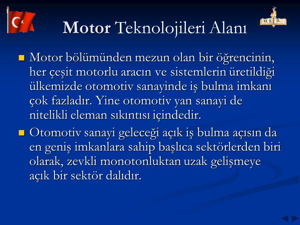 Motor bölümünden mezun olan bir öğrencinin, her çeşit motorlu aracın ve sistemlerin üretildiği ülkemizde otomotiv sanayinde iş bulma imkanı çok fazlad