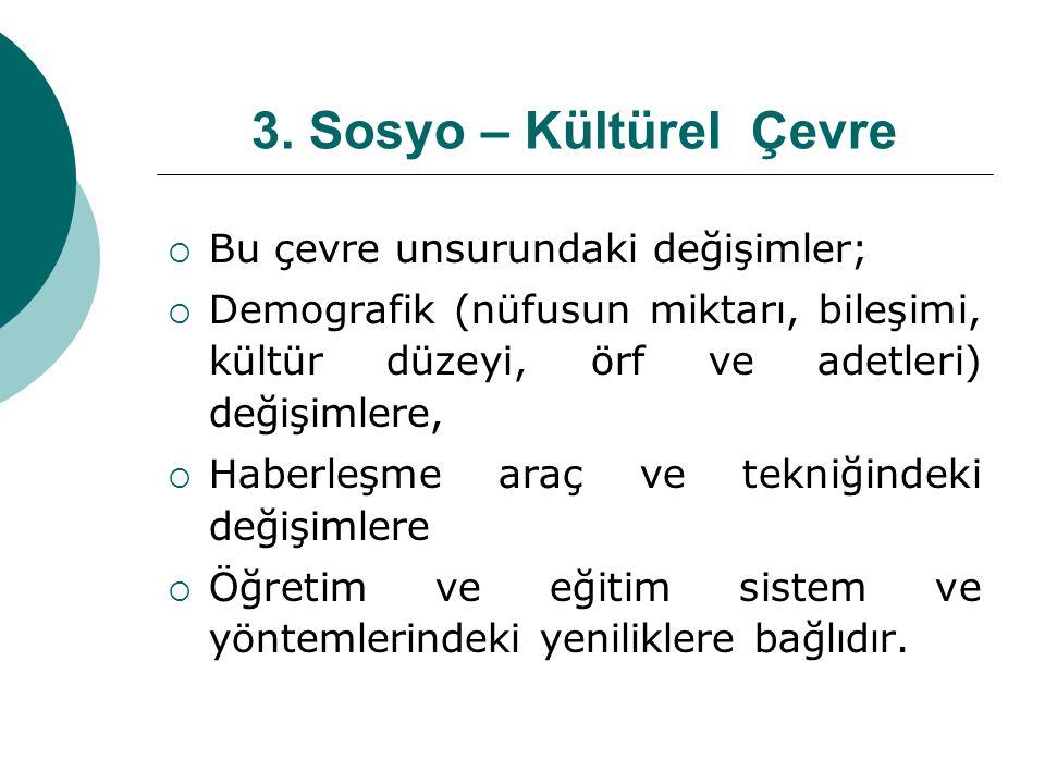 3. Sosyo – Kültürel Çevre  Bu çevre unsurundaki değişimler;  Demografik (nüfusun miktarı, bileşimi, kültür düzeyi, örf ve adetleri) değişimlere,  H