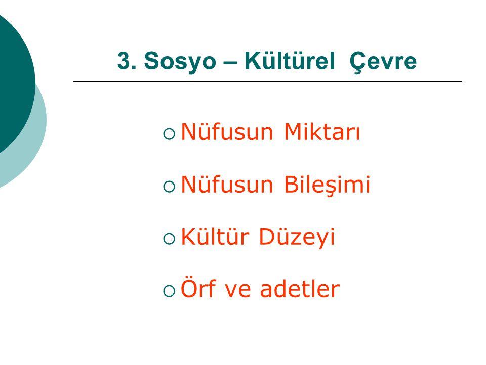 3. Sosyo – Kültürel Çevre  Nüfusun Miktarı  Nüfusun Bileşimi  Kültür Düzeyi  Örf ve adetler