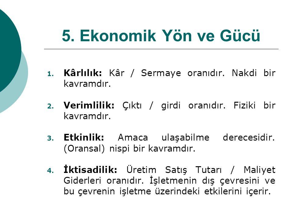 5. Ekonomik Yön ve Gücü 1. Kârlılık: Kâr / Sermaye oranıdır. Nakdi bir kavramdır. 2. Verimlilik: Çıktı / girdi oranıdır. Fiziki bir kavramdır. 3. Etki