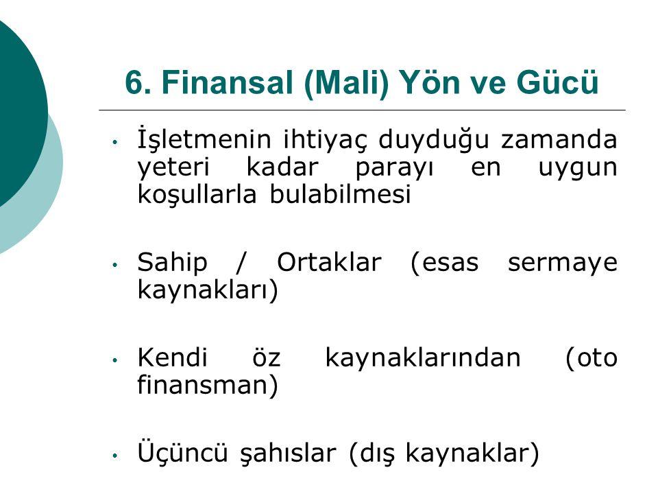 6. Finansal (Mali) Yön ve Gücü İşletmenin ihtiyaç duyduğu zamanda yeteri kadar parayı en uygun koşullarla bulabilmesi Sahip / Ortaklar (esas sermaye k
