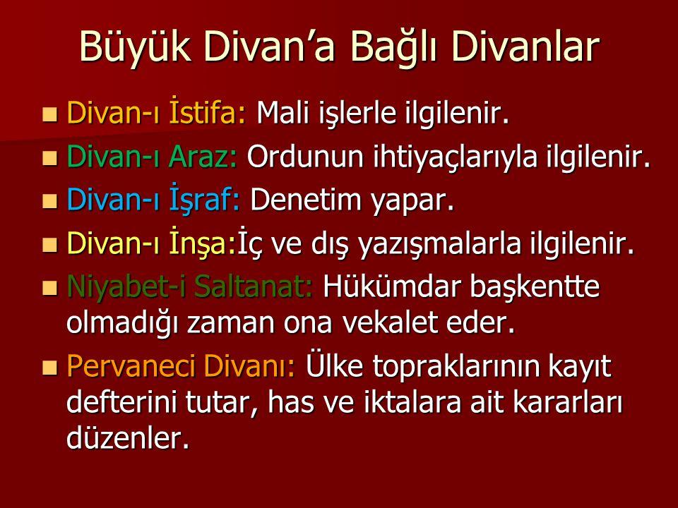 Büyük Divan'a Bağlı Divanlar Divan-ı İstifa: Mali işlerle ilgilenir.
