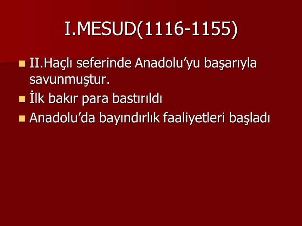 Yassı Çimen Savaşı(1230) Sonuçları Sonuçları 1.Savaşı Türkiye Selçukluları kazandı.