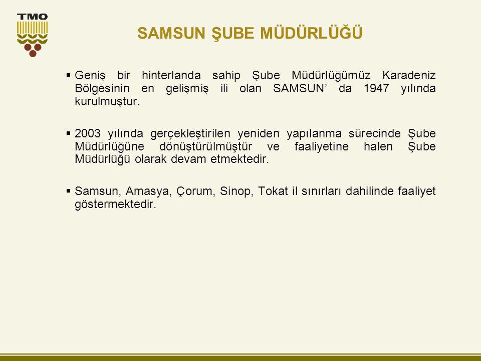 Geniş bir hinterlanda sahip Şube Müdürlüğümüz Karadeniz Bölgesinin en gelişmiş ili olan SAMSUN' da 1947 yılında kurulmuştur.  2003 yılında gerçekle