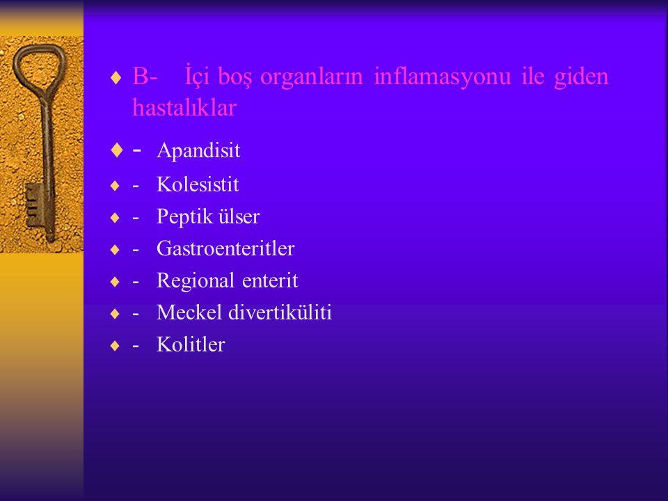  B- İçi boş organların inflamasyonu ile giden hastalıklar  - Apandisit  - Kolesistit  - Peptik ülser  - Gastroenteritler  - Regional enterit  - Meckel divertiküliti  - Kolitler