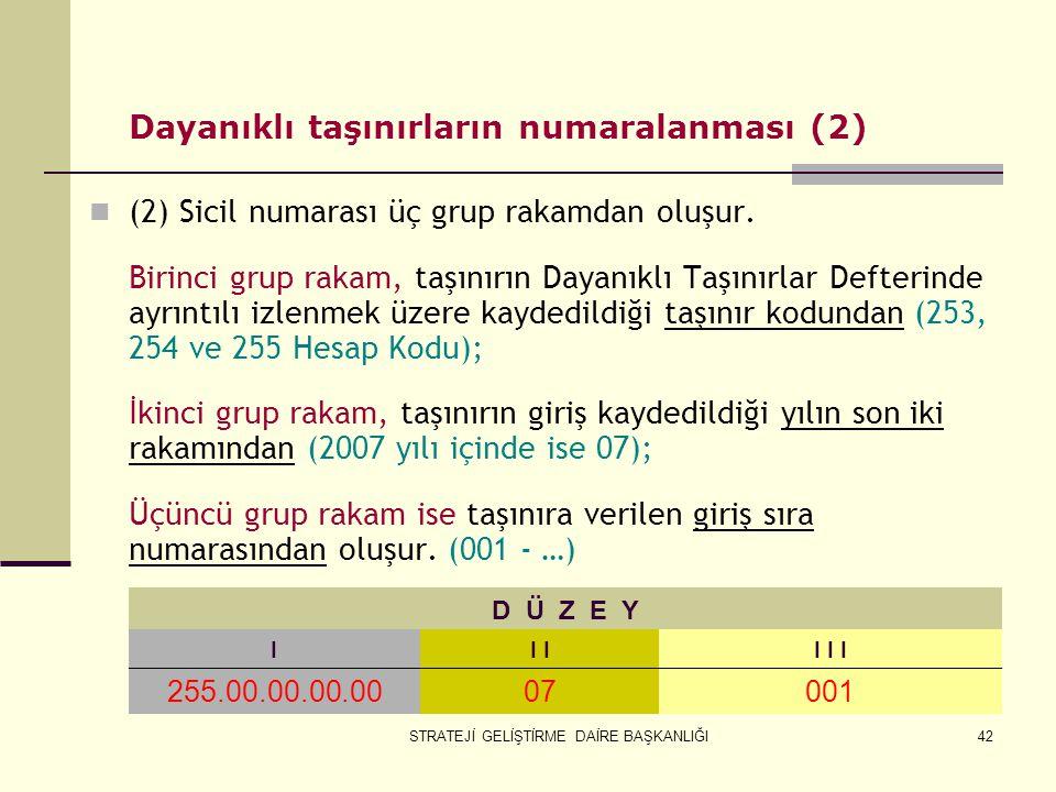 STRATEJİ GELİŞTİRME DAİRE BAŞKANLIĞI42 Dayanıklı taşınırların numaralanması (2) (2) Sicil numarası üç grup rakamdan oluşur. Birinci grup rakam, taşını