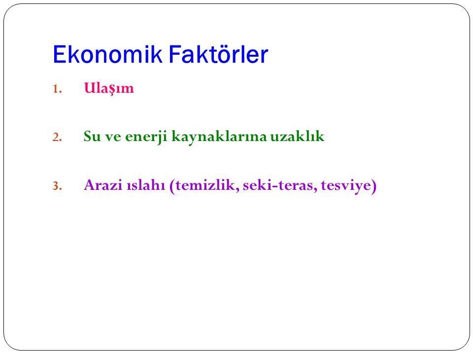 Ekonomik Faktörler 1. Ula ş ım 2. Su ve enerji kaynaklarına uzaklık 3. Arazi ıslahı (temizlik, seki-teras, tesviye)