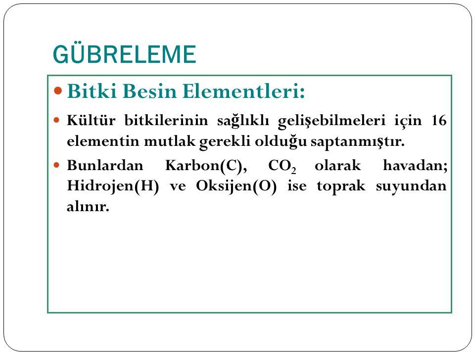 GÜBRELEME Bitki Besin Elementleri: Kültür bitkilerinin sa ğ lıklı geli ş ebilmeleri için 16 elementin mutlak gerekli oldu ğ u saptanmı ş tır. Bunlarda