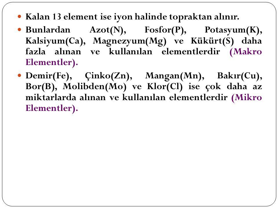 Kalan 13 element ise iyon halinde topraktan alınır. Bunlardan Azot(N), Fosfor(P), Potasyum(K), Kalsiyum(Ca), Magnezyum(Mg) ve Kükürt(S) daha fazla alı