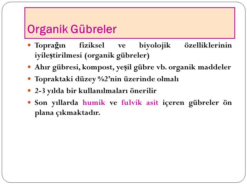 Organik Gübreler Topra ğ ın fiziksel ve biyolojik özelliklerinin iyile ş tirilmesi (organik gübreler) Ahır gübresi, kompost, ye ş il gübre vb. organik